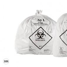 Saco Plástico Branco Infectante 30L 59X62 CX C/ 30X100